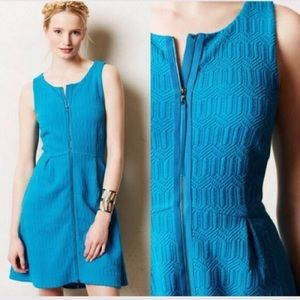 Anthropologie Leifsdottir Blue Tonnelle Zip Dress